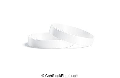 blanco, dos, silicona, acostado, aislado, mockup, blanco, wristband