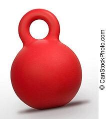 blanco, dumbbell, pesas, fondo rojo