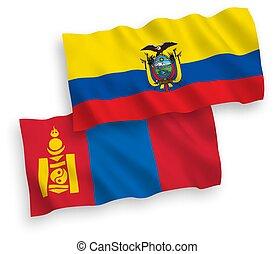 blanco, ecuador, plano de fondo, mongolia, banderas