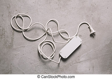 blanco, eléctrico, extensión, cable