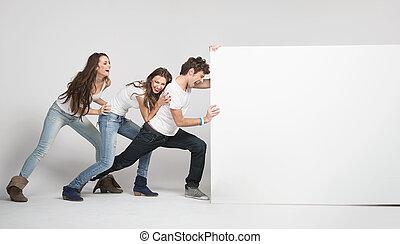 blanco, empujar, gente, joven, tabla