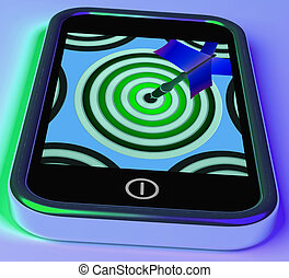 blanco, en, smartphone, actuación, en línea, tiro al arco, juegos