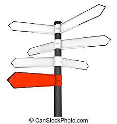 blanco, encrucijada, indicadores, con, uno, rojo