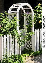 blanco, enramada, en, un, jardín