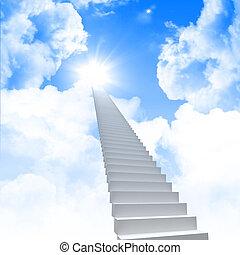 blanco, escalera, extender, a, un, cielo brillante