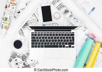 blanco, escritorio, con, computador portatil, y, otro, artículos