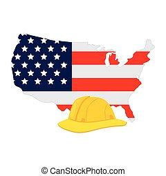 blanco, estados, unido, amarillo, seguridad, plano de fondo...