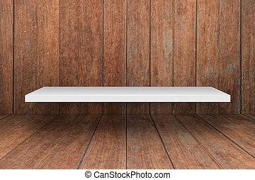 blanco, estante, en, de madera, interior, textura, plano de...