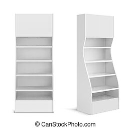 blanco, estante, exhibición, pos, supermercado