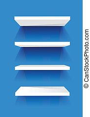 blanco, estantes del libro