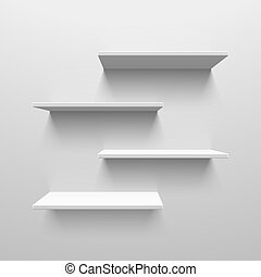 blanco, estantes