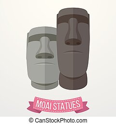 blanco, estatuas, plano de fondo, moai, icono