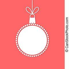 blanco, etiqueta, bauble de navidad