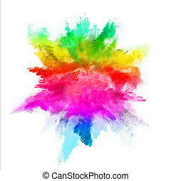 blanco, explosión, fondo coloreado, polvo