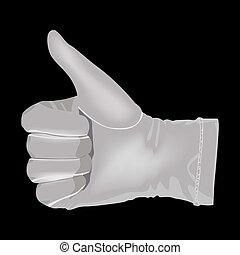 blanco, exposiciones, symbo, guante, mano