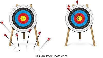 blanco, faltado, tiro al arco, golpear, flecha, conjunto