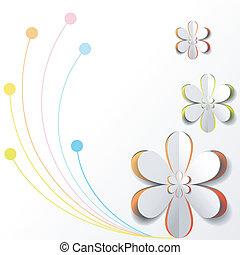 blanco, flor de papel, en, colorido, plano de fondo, tarjeta, diseño