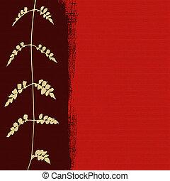 blanco, follaje, silueta, en, fondo rojo
