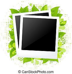 blanco, fotos, con, leafs