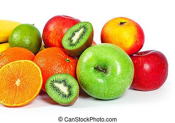 blanco, fruta, aislado, plano de fondo