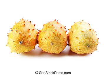 blanco, fruta, aislado, plano de fondo, kiwano
