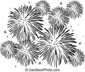 blanco, fuegos artificiales, negro
