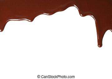 blanco, fundido, goteo, plano de fondo, chocolate