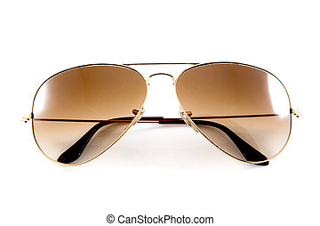 blanco, gafas de sol, aislado, plano de fondo