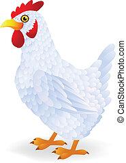 blanco, gallina, caricatura