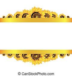 blanco, girasoles, fondo amarillo