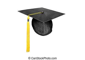 blanco, gorra, aislado, graduación