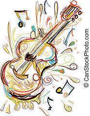 blanco, guitarra
