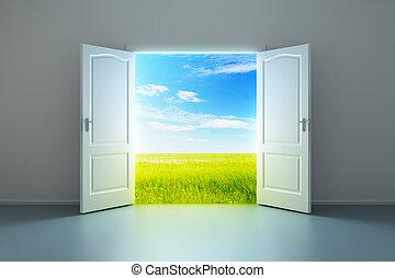 blanco, habitación vacía, con, abierto, puerta