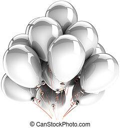 blanco, helio, globos, decoración