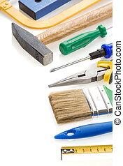 blanco, herramientas, aislado
