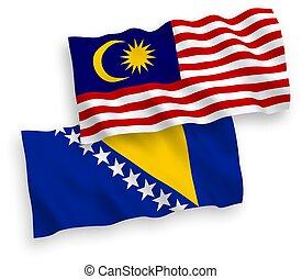 blanco, herzegovina, bosnia, malasia, banderas, plano de ...