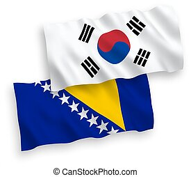 blanco, herzegovina, corea, bosnia, sur, banderas, plano de ...