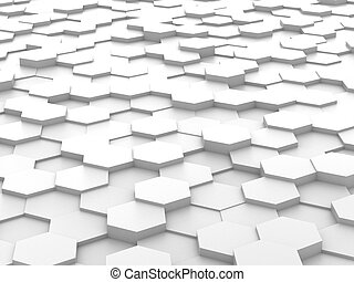 blanco, hexágono, bloques, plano de fondo, 3d