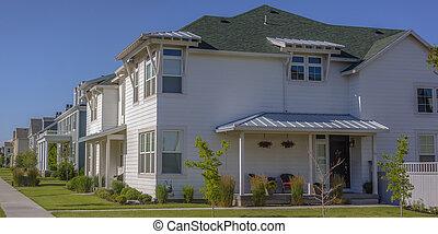blanco, hogares, en, un, suburbano, comunidad