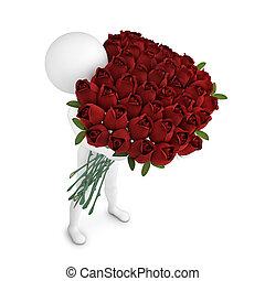 blanco, hombre, con, el, ramo de rosas