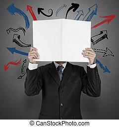 blanco, hombre de negocios, libro, flechas, opción