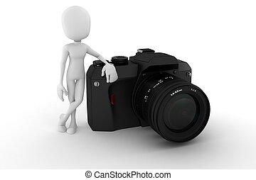 blanco, hombre, Plano de fondo, fotógrafo,  3D
