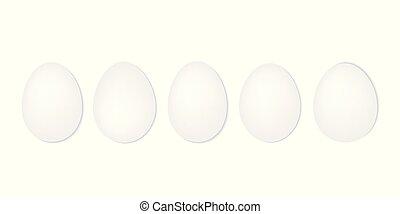 blanco, huevos, fila