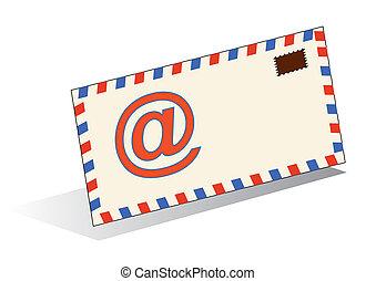 blanco, icono, aislado, email