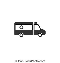 blanco, icono, aislado, plano de fondo, ambulancia