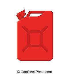 blanco, ilustración, metal, vector, rojo, jerrycan., plano de fondo, aislado