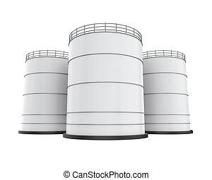 blanco, industrial, tanque de petróleo, aislado