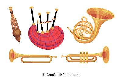 blanco, instrumentos, musical, vector, plano de fondo,...