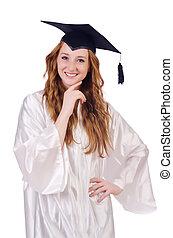 blanco, joven, estudiante, hembra