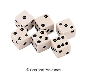 blanco, jugar, dados, aumento, secuencia, aislado